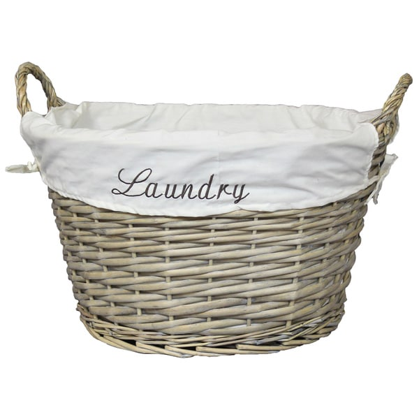 Wicker Laundry Basket with White Liner - Small