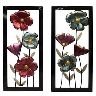 Garden Flowers Framed Metal Wall Decor - Set of 2
