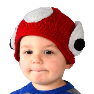 Toddler Puppy Dog Knit Red Fire Fighter Beanie