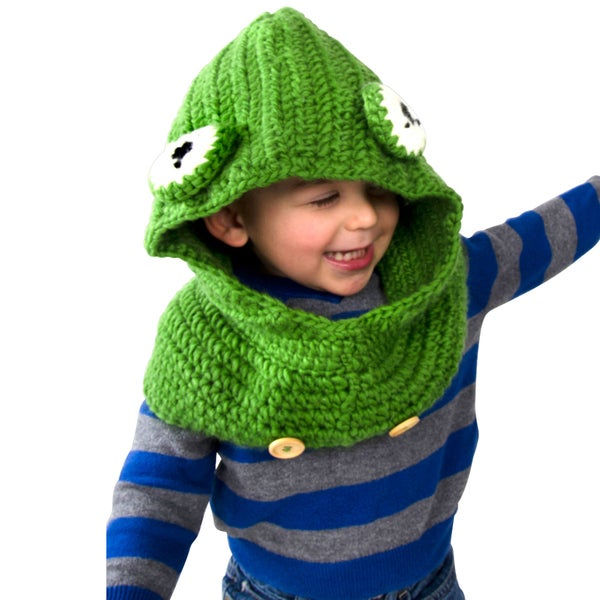 Toddler Green Frog Knitted Hooded Beanie