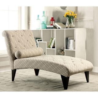 Furniture of America Julianne Contemporary Tufted Ivory Chaise