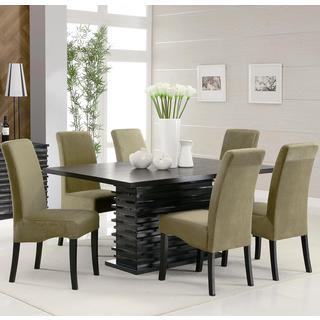 Bass Modern Black Dazzling Wave Design Green Upholstered Dining Set