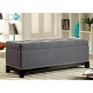 Furniture of America Rachelson Romantic Tufted Linen Storage Ottoman