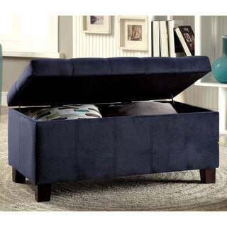 Furniture of America Saydie Contemporary Flannelette Storage Ottoman