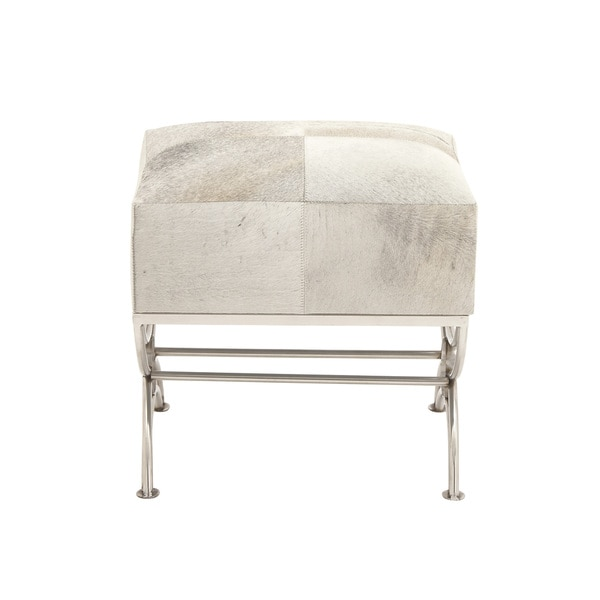 "Stainless Steel Wood Hide Footstool 21""W, 21""H"