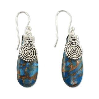 Handcrafted Sterling Silver 'Delhi Legacy' Turquoise Earrings (India)