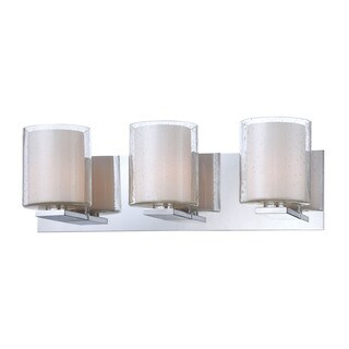 Alico Combo 3-light Vanity with Chrome and Clear Stromboli Outer Glass with White Opal Inner Glass