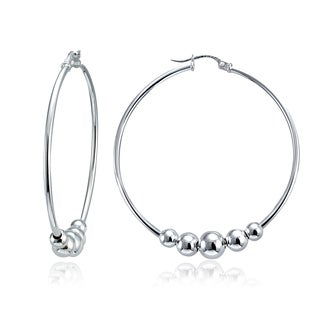 Mondevio High Polished 5 Bead Round Hoop Earrings, 42mm