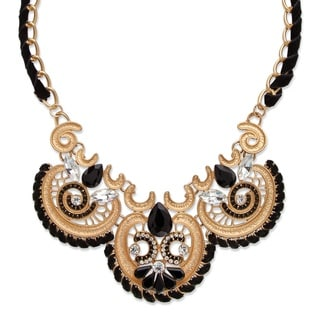 PalmBeach Gold Overlay Black and White Crystal Antiqued Scroll Statement Necklace