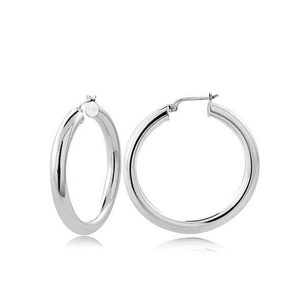 Mondevio High Polished 4mm Round Hoop Earrings, 30mm-50mm