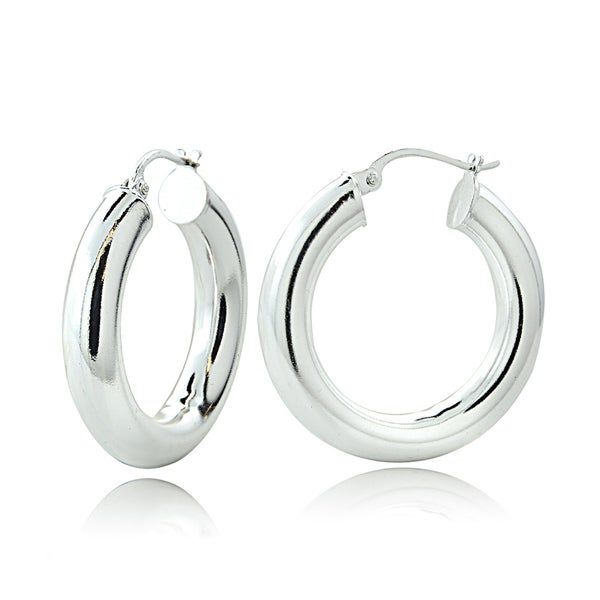 Mondevio High Polished 5mm Round Hoop Earrings, 20mm-40mm