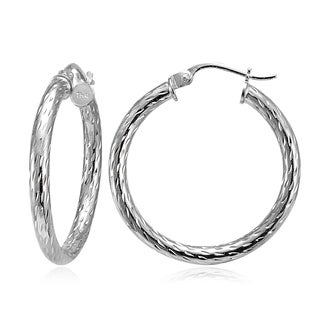 Mondevio 2.5mm Diamond-Cut Round Hoop Earrings 25mm-50mm