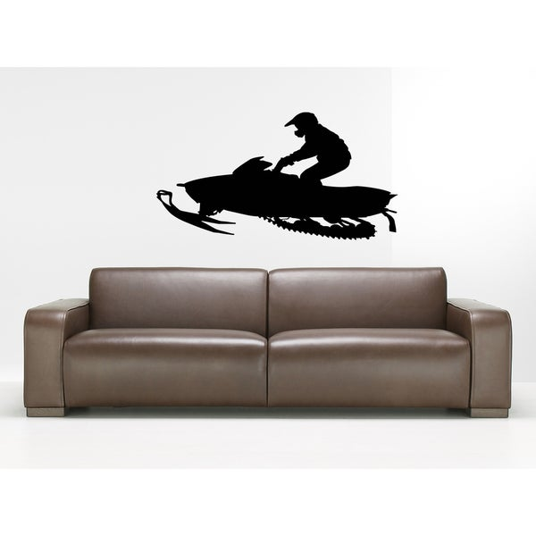 The race is on Snowmobile Athlete Wall Art Sticker Decal
