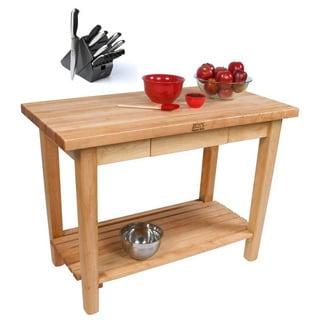 John Boos C07C-D-S-TLR Country Maple 60x35 Table with Casters / Drawer / Shelf /Towel Rack and Henckels 13-piece Knife Block Set