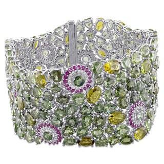 Miadora Signature Collection 14k White Gold Pink and Green Sapphire Green Tourmaline 4/5ct TDW Diamond Bracelet (G-H, SI1)