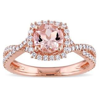 Miadora Signature Collection 14k Rose Gold Morganite 1/2ct TDW Diamond Halo Crossover Split Shank Engagementl Ring (G-H, I1-I2)