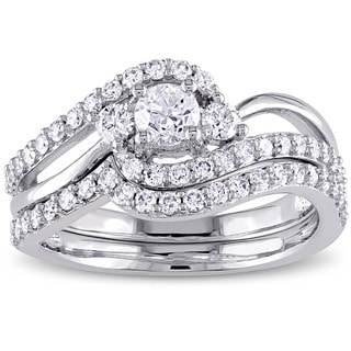 Miadora Signature Collection 14k White Gold 1ct TDW Diamond Crossover 3-Stone Bridal Ring Set (G-H, I1-I2)