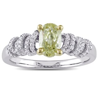 Miadora Signature Collection 14k White and Yellow Gold 1ct TDW Natural Yellow Oval Cut Diamond Spiral Engagement Ring (G-H, SI1)