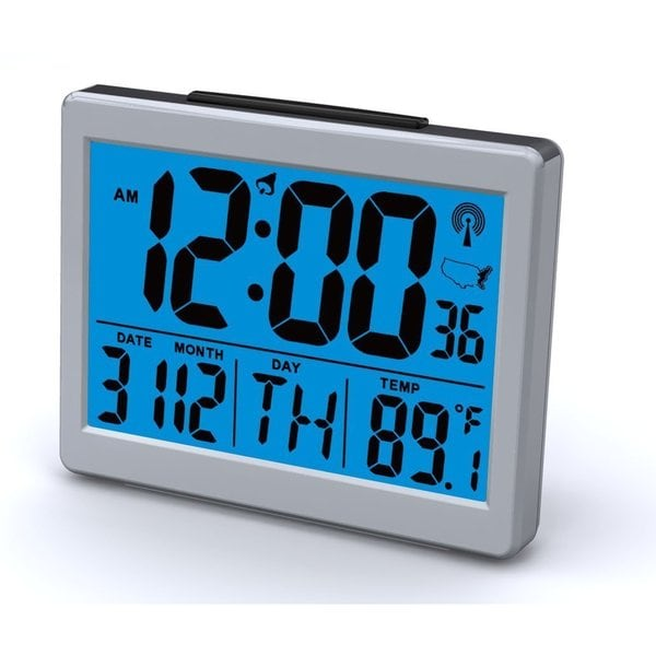 Ken-Tech Atomic Radio Controlled LCD Alarm Clock, 1.5-Inch, Black Blue Light