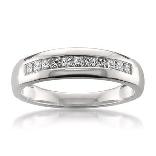 Montebello 14k White Gold 1/2ct TDW Certified Princess-cut Diamond Wedding Band (H-I, SI2-I1)