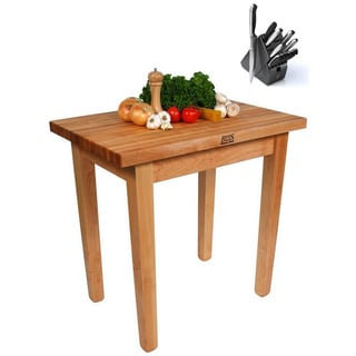 John Boos C11 Country Maple 60x36x35 Work Table and Henckels 13-piece Knife Block Set