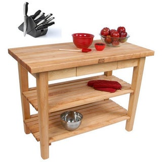 John Boos C11-D-2S Country Maple 60x38x35 Work Table with Drawer / 2 Shelves and Henckels 13-piece Knife Block Set