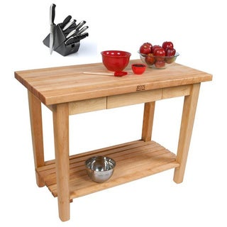 John Boos C11-D-S Country Maple 60x36x35 Work Table with Drawer / Shelf and Henckels 13-piece Knife Block Set