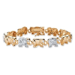 PalmBeach 18k Yellow Gold Overlay Diamond Accent Two-tone Elephant Parade Bracelet