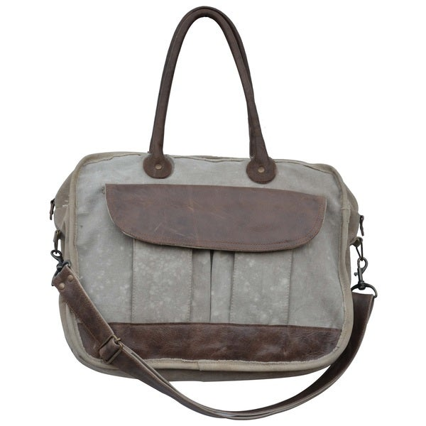 Merrin Cotton and Leather Satchel Tote Bag