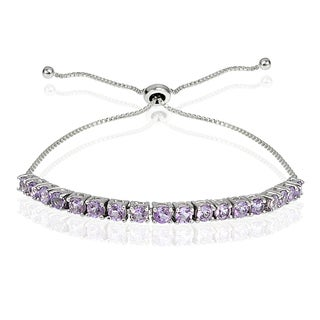 Glitzy Rocks Sterling Silver Birthstone Adjustable Bracelet