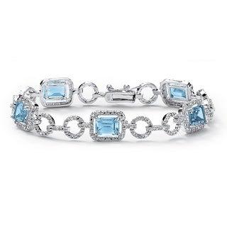 PalmBeach Silver Overlay Emerald-cut Blue Topaz and Diamond Accent Bracelet