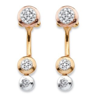 PalmBeach 14k Two-tone Gold over Silver 1/4ct TDW Diamond Cluster Front-back Earrings (H-I, I1-I2)
