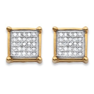 PalmBeach 14k Gold over Silver 1/8ct TDW Diamond Square Cluster Stud Earrings (H-I, I1-I2)