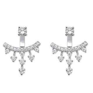 PalmBeach 1.14 TCW Round Cubic Zirconia Ear Jacket Earrings in Sterling Silver Bold Fashion