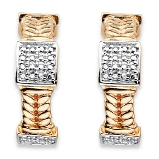 PalmBeach 18k Gold Overlay Round Diamond Accent Braided Link C-hoop Square Cluster Earrings