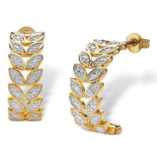 PalmBeach 18k Yellow Gold Overlay Round Diamond Accent Marquise Leaf C-hoop Earrings