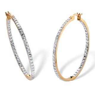 PalmBeach 18k Yellow Gold Overlay Diamond Accent Inside-out Hoop Earrings