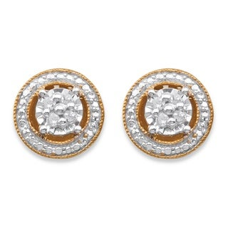 PalmBeach 14k Gold over Silver Diamond Accent Halo-Style Stud Earrings