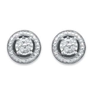 PalmBeach Sterling Silver Round Diamond Accent Halo Stud Earrings