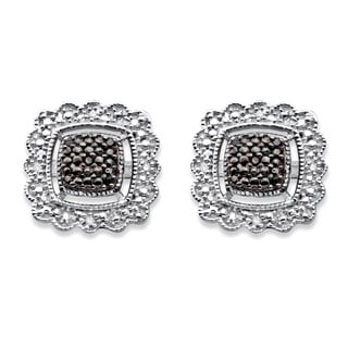 PalmBeach Sterling Silver Black Diamond Accent Squared Halo-Style Stud Earrings