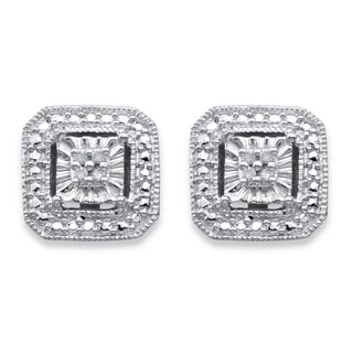 PalmBeach Sterling Silver Round Diamond Accent Octagon Halo-Style Stud Earrings