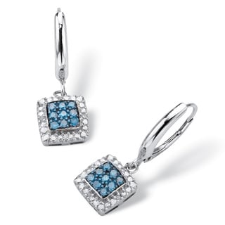 PalmBeach Platinum over Silver 1/4 TDW Enhanced Blue Diamond Squared Halo-Style Drop Earrings (I-J, I3)