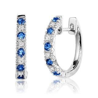 10k White Gold Blue Sapphire and Diamond Accent Saddleback Hoop Earrings