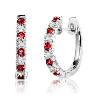10k White Gold 1/3ct TGW Ruby and Diamond Accent Saddleback Earrings