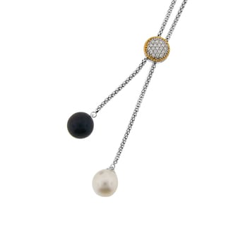 Meredith Leigh Sterling Silver Cultured Pearl and Cubic Zirconia Lariat Necklace