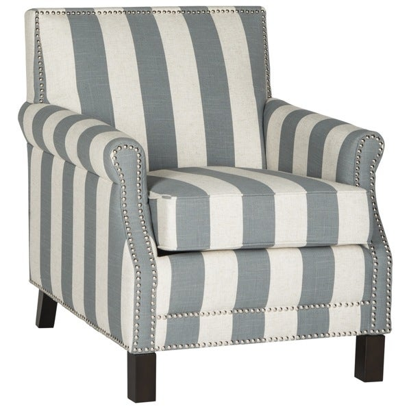 Safavieh Easton Grey/ White Stripe Silver Nail Heads With Awning Stripes Club Chair