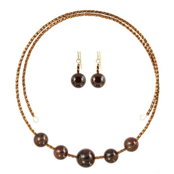 Garnet Glamour Choker Necklace Earring Set