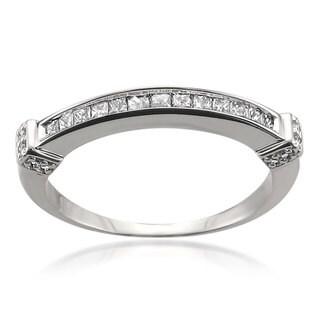 Montebello 14k White Gold 1/3ct TDW Princess-cut Channel Wedding Band (H-I, I1-I2)