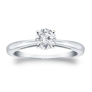 Auriya 18k Gold 1/3ct TDW Round Diamond Solitaire Engagement Ring (H-I, VS1-VS2)