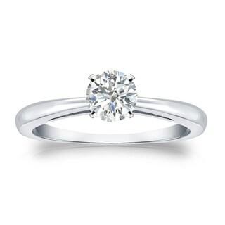 Auriya 18k Gold 1/3ct TDW Round Diamond Solitaire Engagement Ring (I-J, SI2-SI3)
